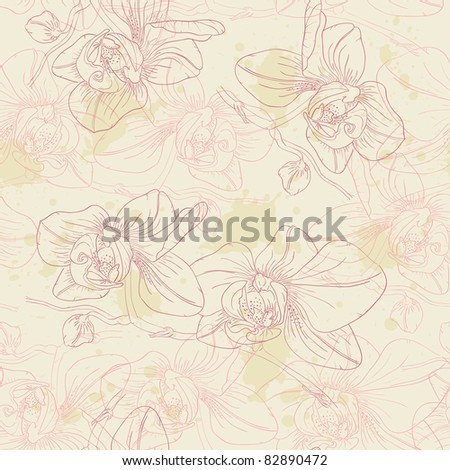 retro floral vector seamless pattern with orchids