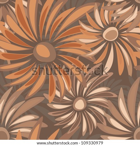 Retro floral vector seamless texture with asters