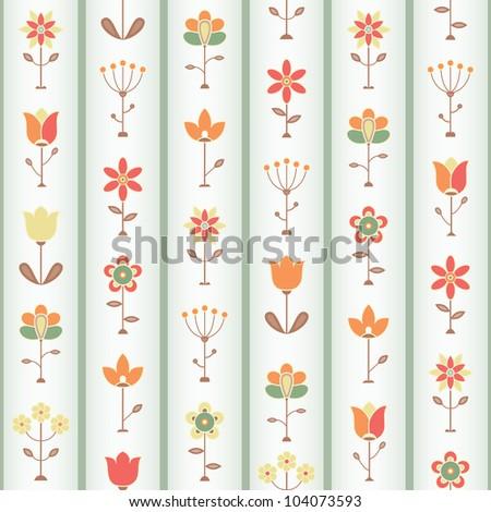 Retro Flower Seamless pattern. EPS 8 vector illustration.