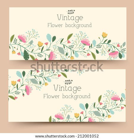 retro flower vertical banners concept. Vector illustration design #212001052