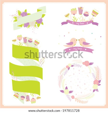 Retro flowers labels in vector. Cute floral bouquets. Vintage floral set. Stylish invitation in bright colors can be used like happy birthday or other holiday card. Summer concept background.