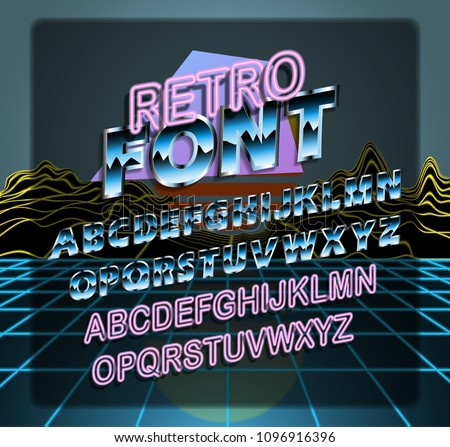 Retro Font. Retro futuristic set of fonts 1980s style. Retro Wave music script template with shiny colors, lazers. Can be used on flyers, banners, web, or any projects. Vector illustration, EPS 10.