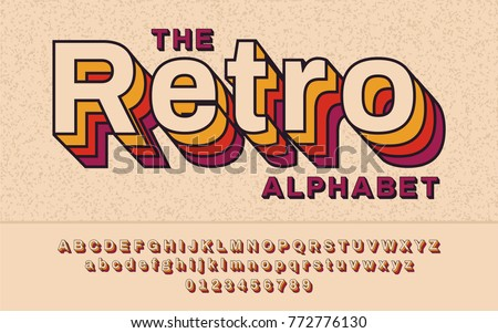 Retro Font 90's, 80's with colorful layers and VHS effect. Vector abc alphabet