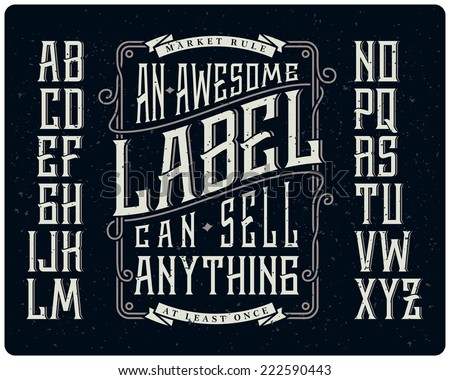Retro font set with ornament frame for making label design