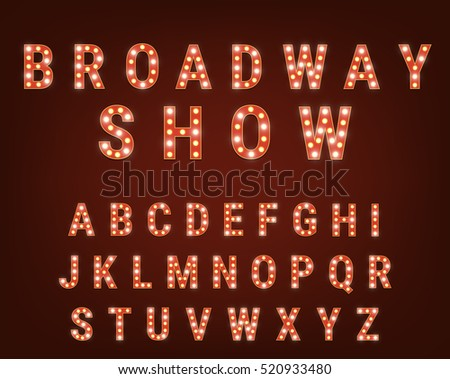 Retro font with light bulbs. Broadway Show typeface. Alphabet with shiny glowing light bulbs