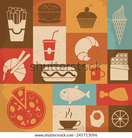 Retro Food Icons. Vector illustration