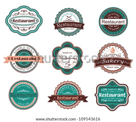 Retro food labels and emblems with embellishments, such a logo. Jpeg version also available in gallery - stock vector