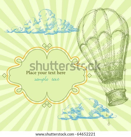 retro frame with hot air balloon