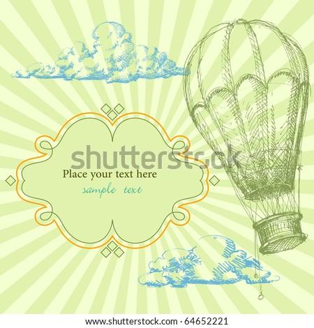 Retro frame with hot air balloon