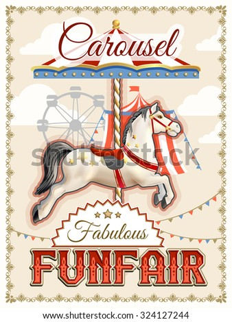 Retro funfair or amusement park poster with carousel horse vector illustration