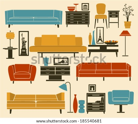 Retro Furniture and Home Accessories, including sofas, love seat, armchairs, coffee and side tables and interior decoration