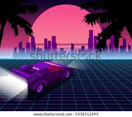 Retro future. 80s style sci-fi background with supercar. Futuristic retro car. Vector retro futuristic synth illustration in 1980s posters style. Suitable for any print design in 80s style