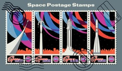 Retro Future Soviet and American Space Propaganda Postage Stamps, Space Rockets, Spaceman, Color Abstract Background