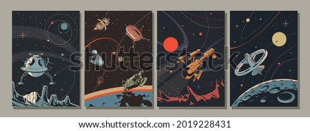 Retro Future Space Illustration Set, Spacecraft, Planets, Space Stations