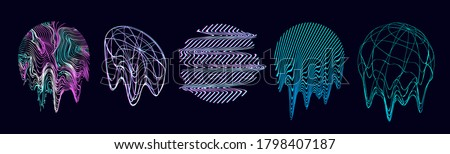 Retro futurism shapes, circle glitch and liquid elements. Holographic illuminated in 80s-90s. Futuristic design vaporwave, synthwave. Trendy shapes for merch and T-shirt. Vector set glitch elements