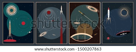 Retro Futurism Space Posters, Mid Century Modern Style Illustrations