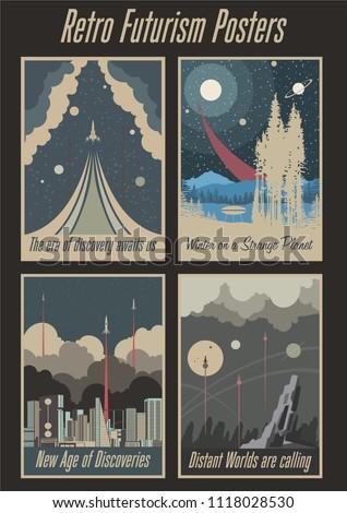 retro futurism vintage posters