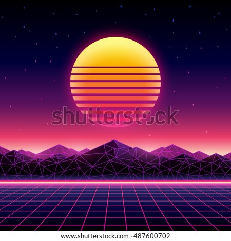 Retro futuristic background 1980s style. Digital landscape in a cyber world. Retro Wave music album cover template with sun, space, mountains and laser grid on terrain. - Shutterstock ID 487600702