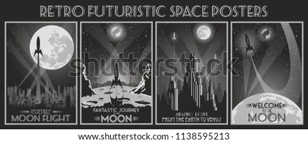 retro futuristic space poster