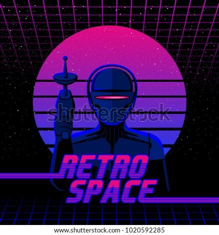 Retro futuristic vector illustration in 1980s design style. Robot with laser beam gun.