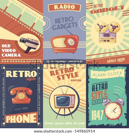 Retro gadgets cartoon posters with camera radio musical player phone tv alarm clock vector illustration