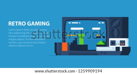 Retro gaming illustration in modern flat style. Old TV, vintage video game console, cartridge. Popular arcade platformer on the screen.