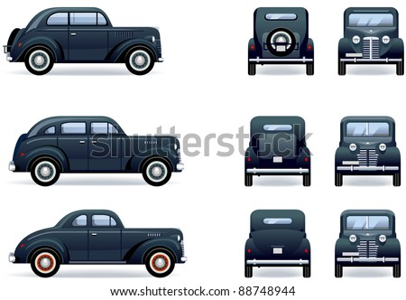 stock vector : Retro gangster car (1930-40th).  Set of the car icons in...