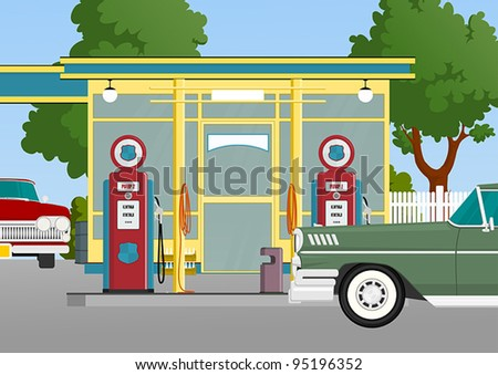 retro gas station - stock vector