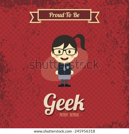retro geek cartoon character