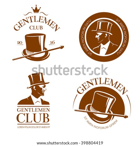 retro gentlemen club emblems ...