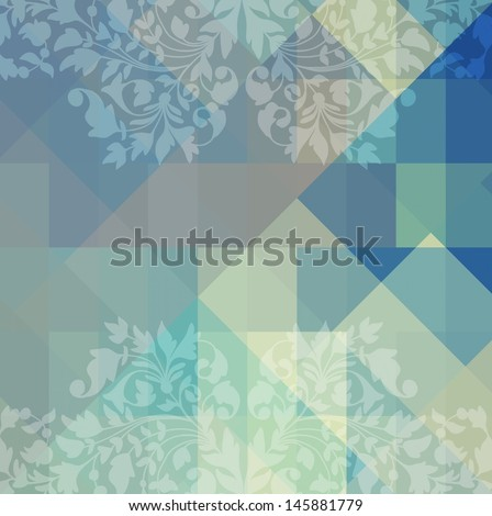 Retro geometric background with flowers, VECTOR