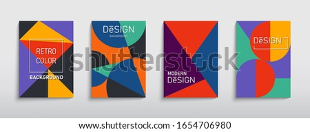 Retro geometric brochure. Bauhaus compotition. Covers design in Swiss modernism style. Abstract creative vector illustration for banner, cover, template, poster, layout, flyer, brochure, presentation.