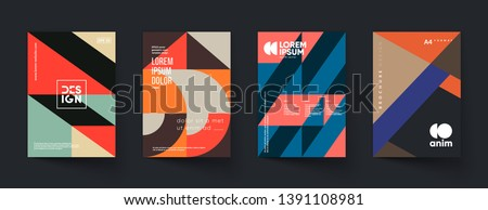 Retro geometric covers set. Swiss modernism. Eps10 vector.