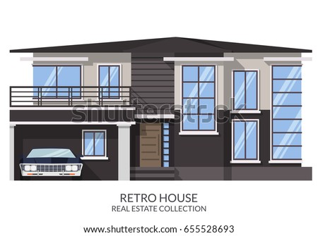 retro ghostly big house with
