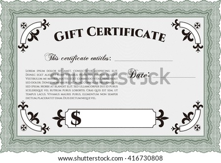 Retro Gift Certificate. Cordial design. Customizable, Easy to edit and change colors. With background.