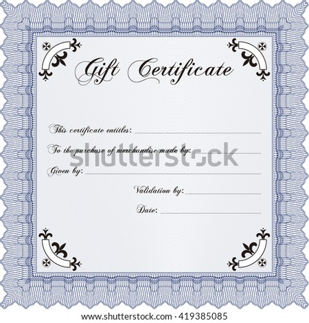 Retro Gift Certificate. Cordial design. With background. Customizable, Easy to edit and change colors.
