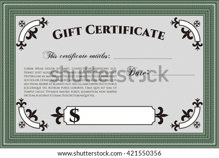 Retro Gift Certificate. Customizable, Easy to edit and change colors. Good design. With background.