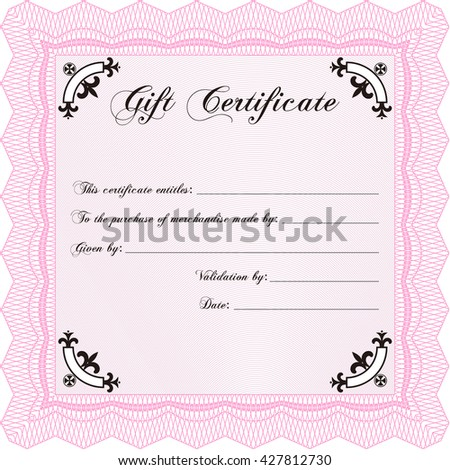 Retro Gift Certificate. Customizable, Easy to edit and change colors. With background. Cordial design.