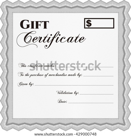 Retro Gift Certificate. Good design. With background. Customizable, Easy to edit and change colors.