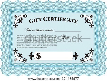 Retro Gift Certificate template. Artistry design. Border, frame. With linear background.