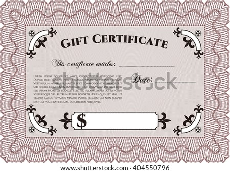 Retro Gift Certificate. With background. Cordial design. Customizable, Easy to edit and change colors.