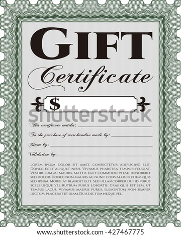 Retro Gift Certificate. With background. Customizable, Easy to edit and change colors. Cordial design.
