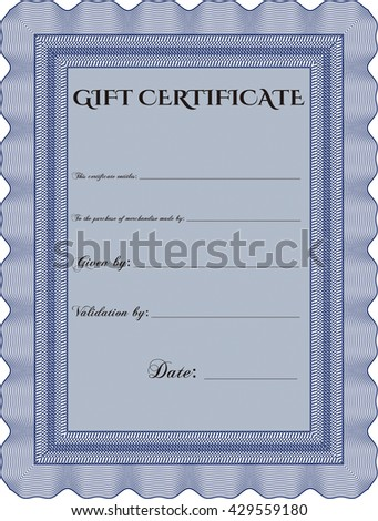 Retro Gift Certificate. With background. Good design. Customizable, Easy to edit and change colors.