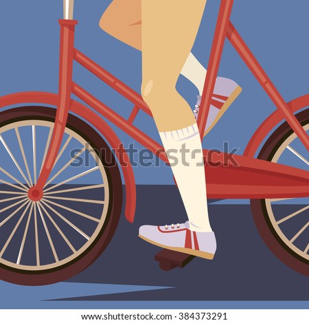 retro girl on a bicycle in
