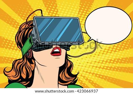 retro girl with glasses virtual
