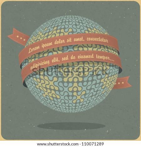 Retro globe symbol with ribbon and sample text. Vector, EPS10