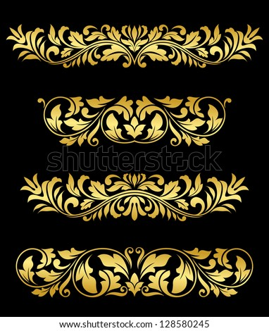 Retro gold floral elements and embellishments set for design and decorate. Jpeg version also available in gallery