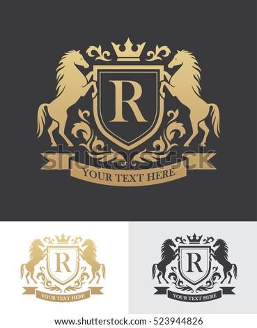 retro golden crest with shield...
