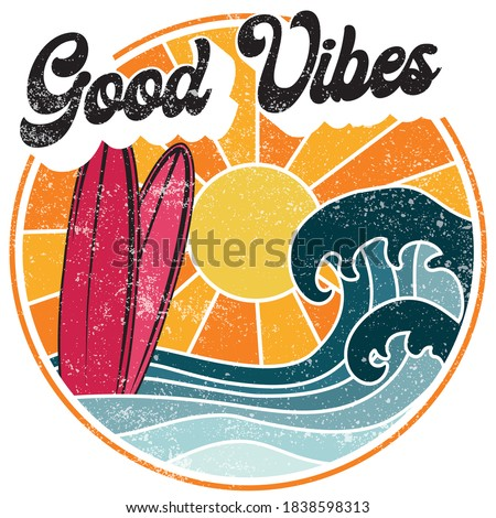 Retro Good Vibes Slogan Illustration with Sun Waves and Surfboards - Graphic Vector Print for Tee / T Shirt Сток-фото ©