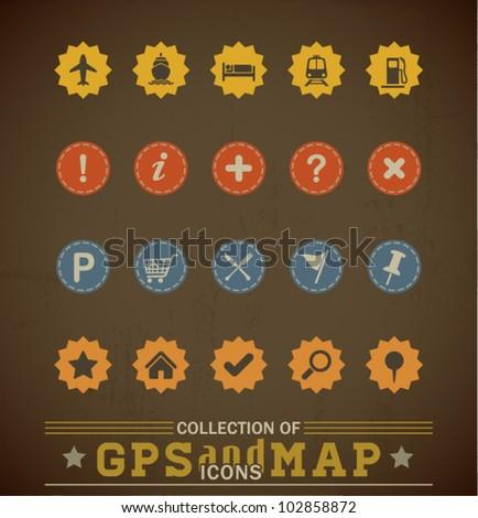 Retro GPS and MAP Icon Set. Vector Illustration.